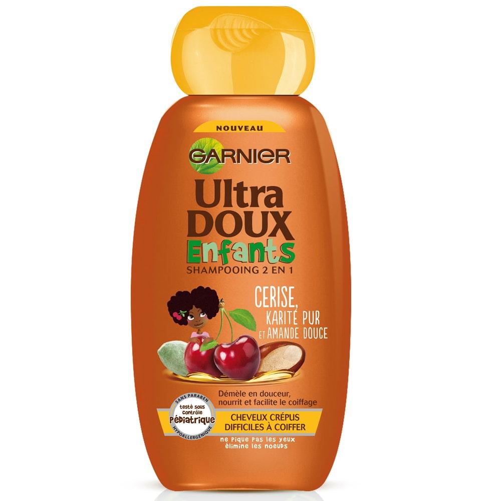 Catégorie Kids Cheveux (shampooing + démêlant) Grande         distribution : Shampooing 2 en 1 cerise ultra doux enfants         cheveux crépus Garnier