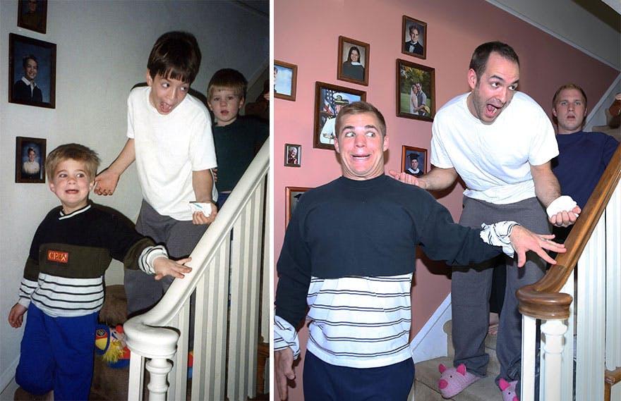 3 frères rejouent des scènes d'enfance