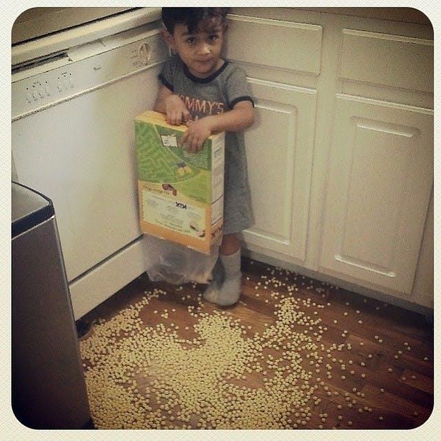 Les céréales sont par terre