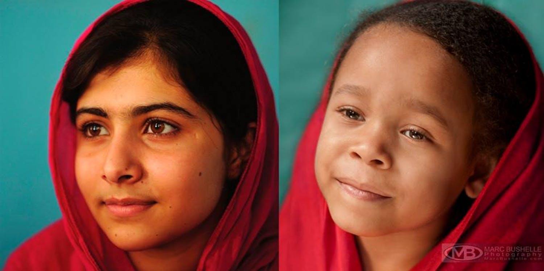 Malala, militante pakistanaise des droits des femmes,         et la plus jeune lauréate du prix Nobel