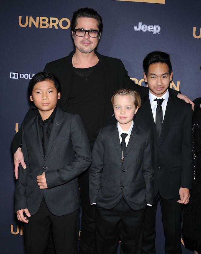 Brad Pitt avec Shiloh, Pax et Maddox