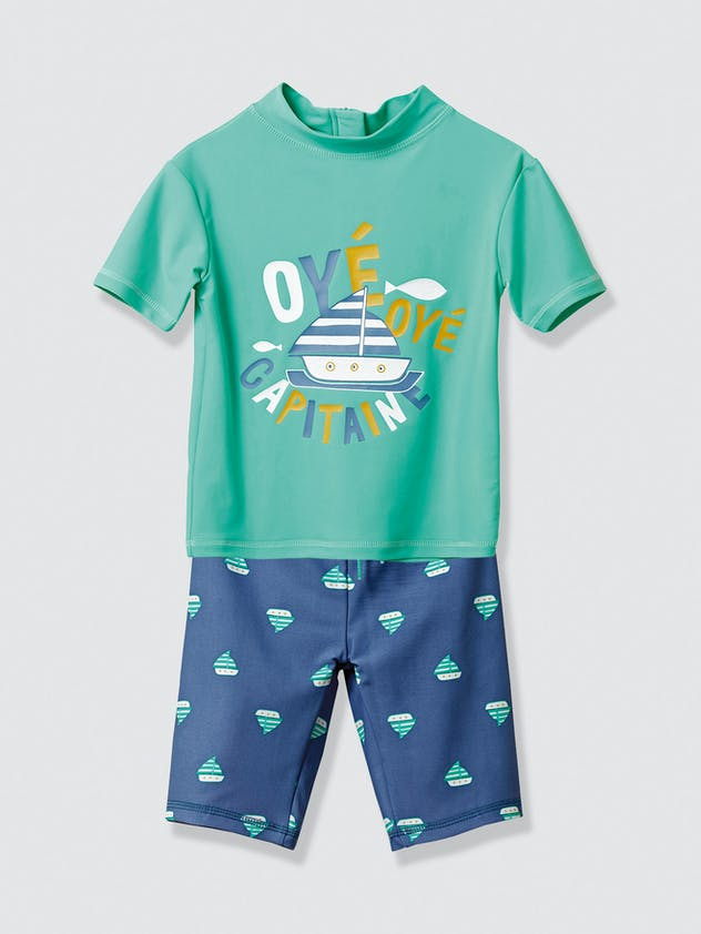 Ensemble tee-shirt et short de bain anti-UV,         Vertbaudet