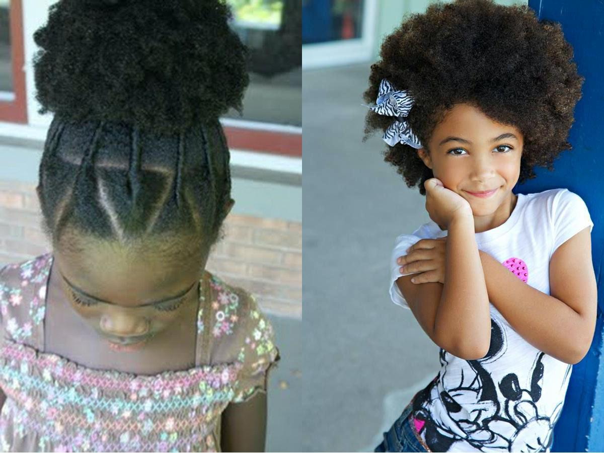 Coiffure pour petite fille cheveux crepus