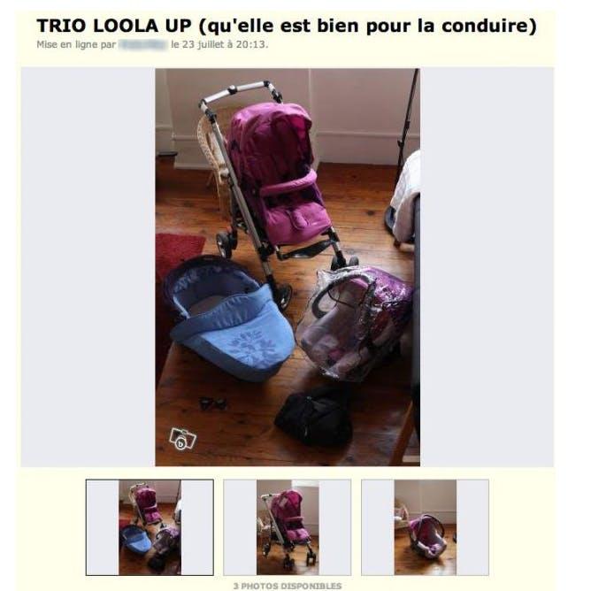 Poussette à vendre : une annonce rigolote sur  Leboncoin.fr