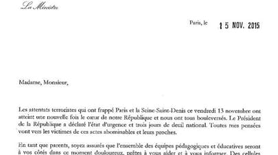 La lettre de Najat Vallaud-Belkacem aux parents suite aux   attentats