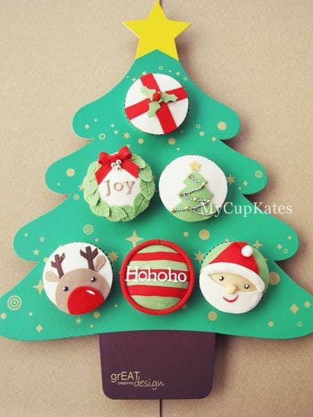 Sapin de Noël en cupcakes