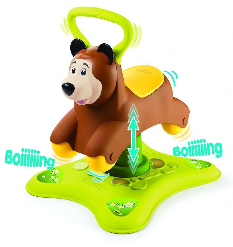 1-2 ans: Rocking porteur Smoby qui se transforme         en ours gigoteur, 49,99 €. Dès 12 mois.