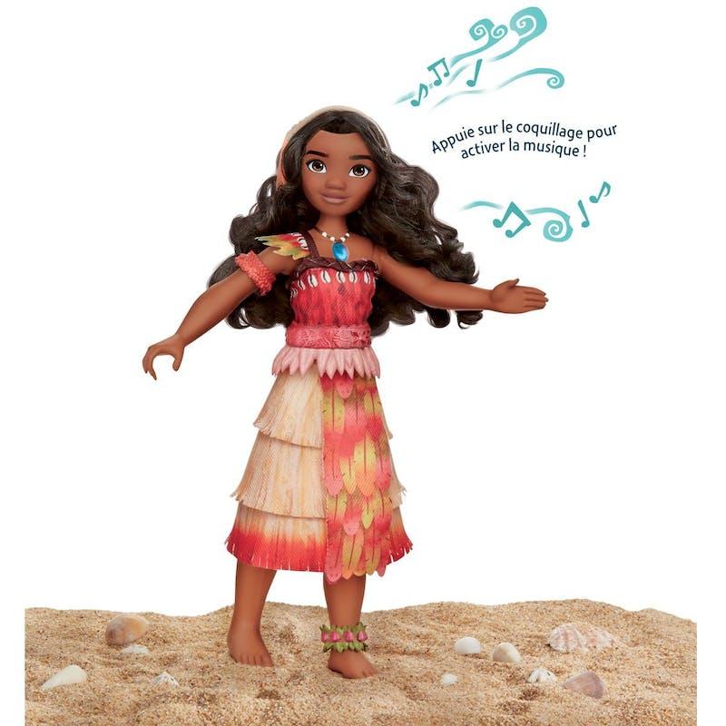 3-5 ans:Poupée articulée avec effets sonores         Vaiana Mélodie des îles, 30 cm, Hasbro, 29,99 €. Dès 3         ans.