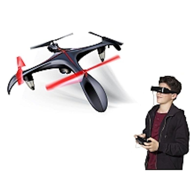 Drone Blacksior (39 cm) avec caméra et lunettes FPV,         Silverlit Toys, 150 €. Dès 14 ans.