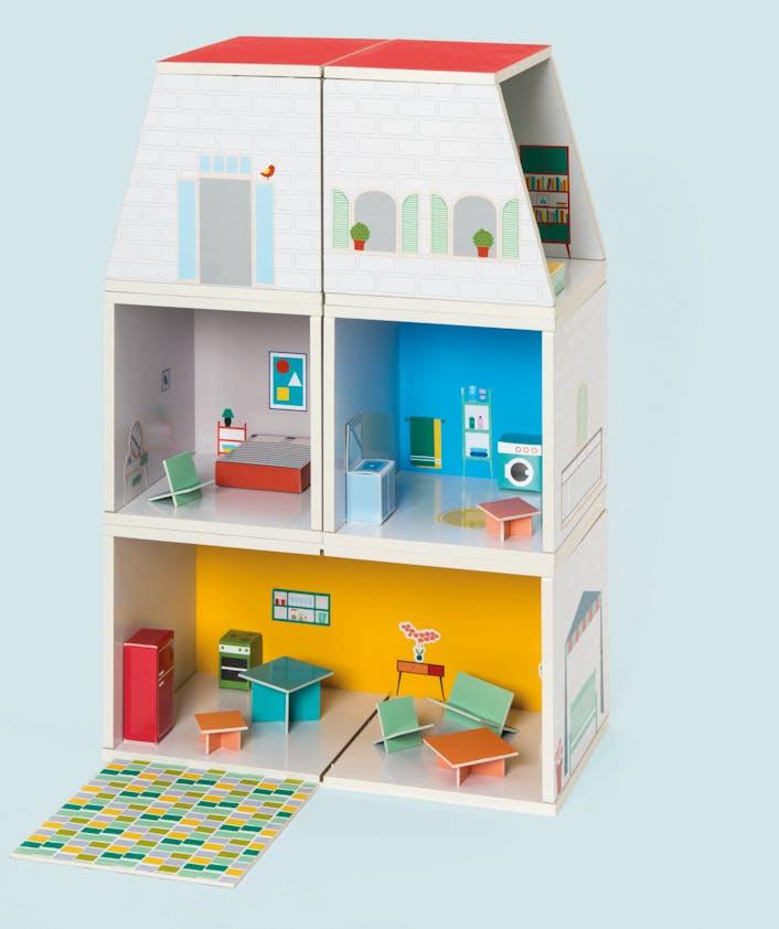 Maison de poupées modulable, Oxybul Eveil et Jeux,         39,99 €. Dès 3 ans.