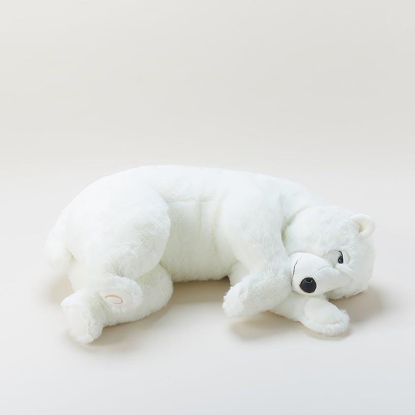 Peluche ours dormeur, 65 cm, Ovale-Galeries Lafayette,         290 €. Dès la naissance.