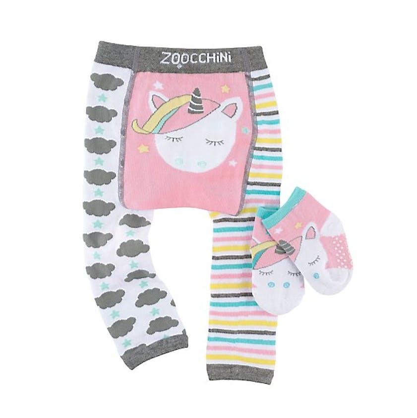Ensemble leggings et chaussettes motif licorne pour bébé