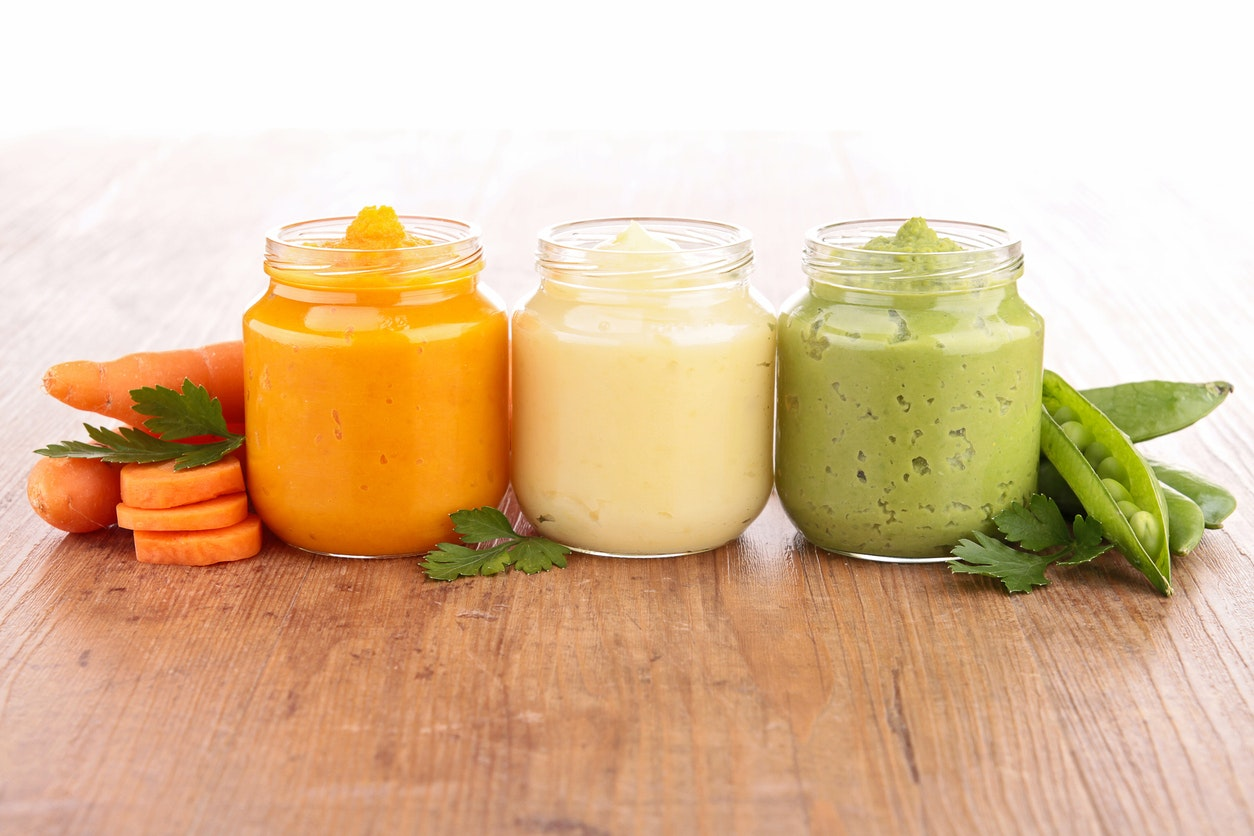 trois petits pots de légumes