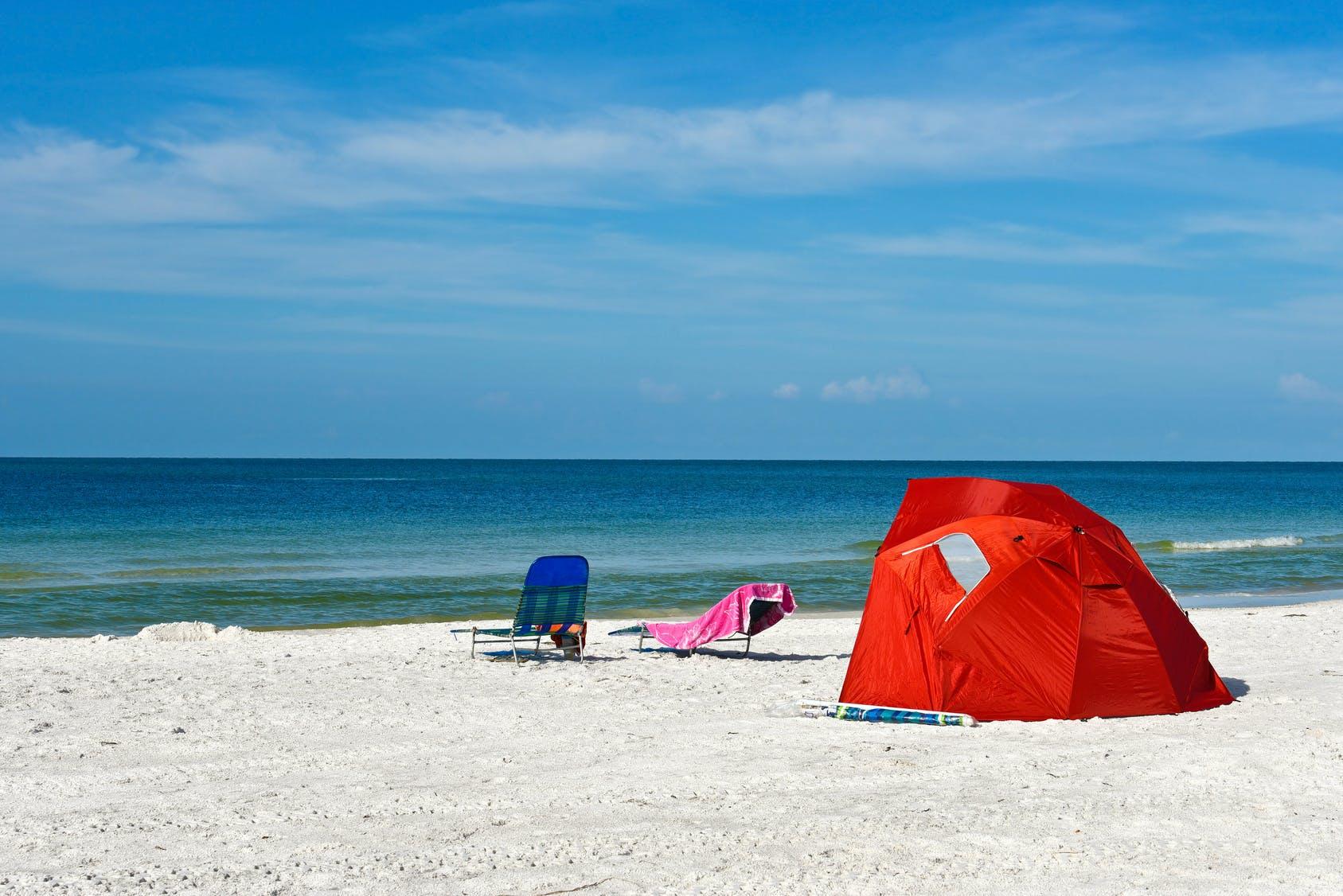 tente anti uv sur plage