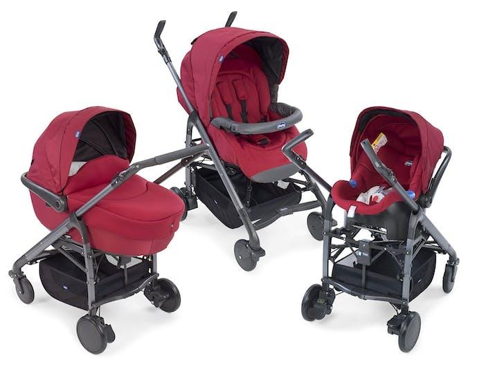 Trio Love de Chicco poussette nacelle siège auto coque cosy rouge
