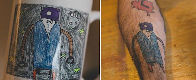 les tatouages d'un papa poule