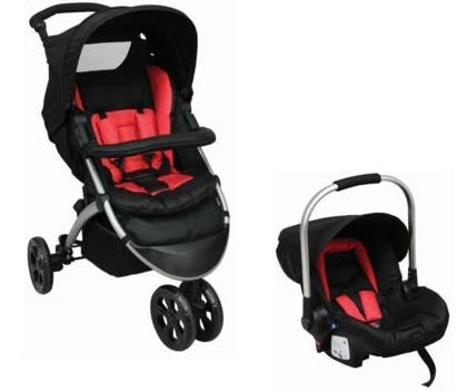 Poussette duo 3 roues Tex Baby de Carrefour