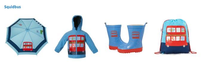 gamme vêtements de pluie squidbus Squidkids