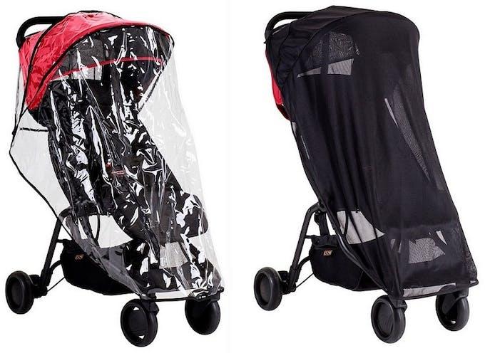 Poussette Nano V2 de Mountain Buggy - accessoires habillage protection pluie moustiquaire