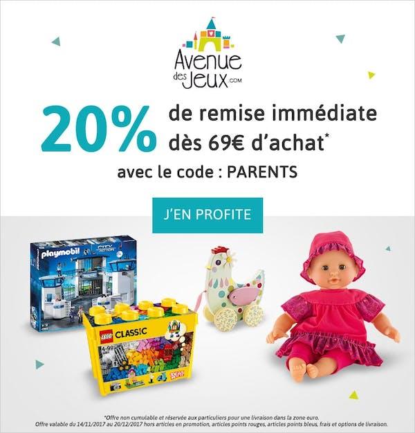 20% de remise immédiate sur vos jouets pour Noël