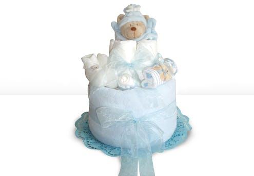Gâteau de couches nounours bleu