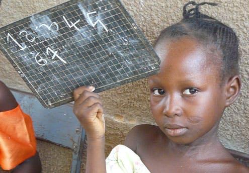 Françoise, 7 ans, en cours de maths