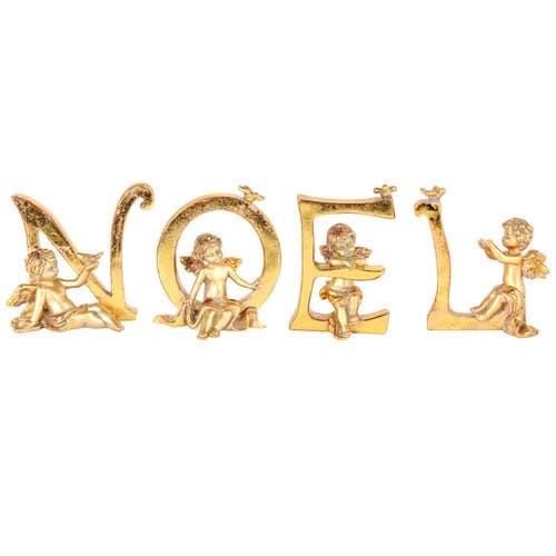 Boîte de 4 lettres en résine dorée