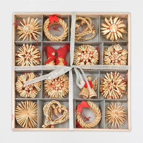 Boîte décorations paille