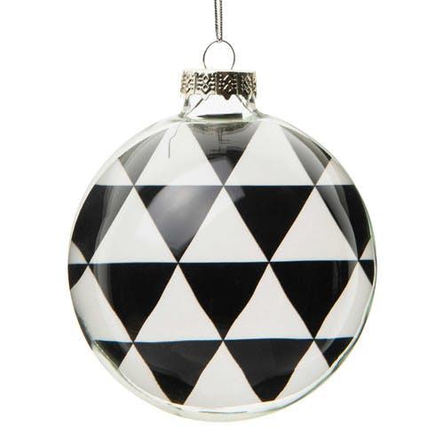 Boule avec triangles en verre noire / blanche