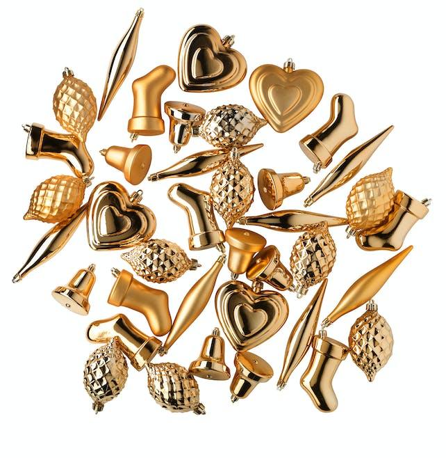Décorations 38 pièces dorées