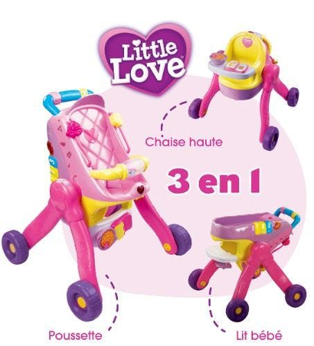 Ma poussette 3 en 1 interactive Little love