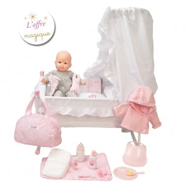Mes Essentiels Bébé Dodo (grand poupon, lit à bascusle         et accessoires)