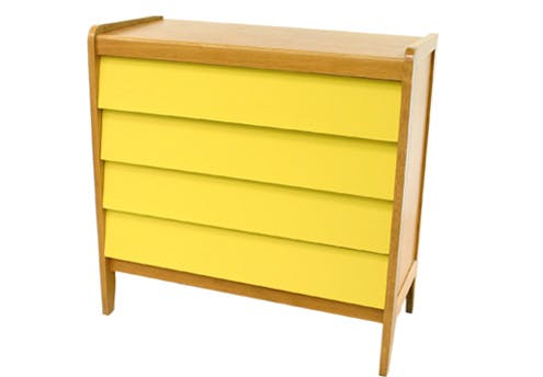 Commode vintage jaune soleil