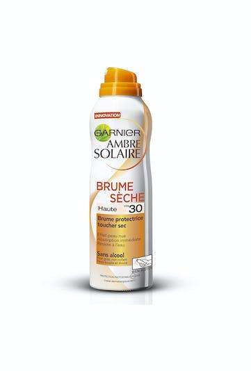 Palmarès crèmes solaires : Garnier ambre solaire,         brume sèche SPF 20,30 ou 50