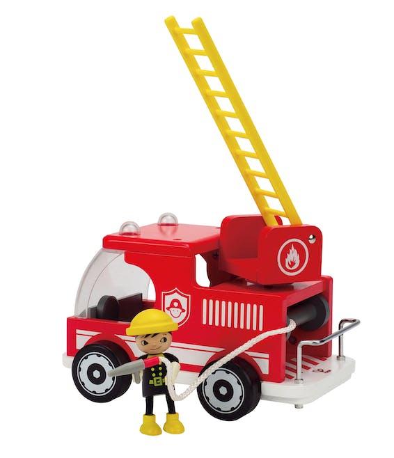 Camion de pompier en bois et sa figurine