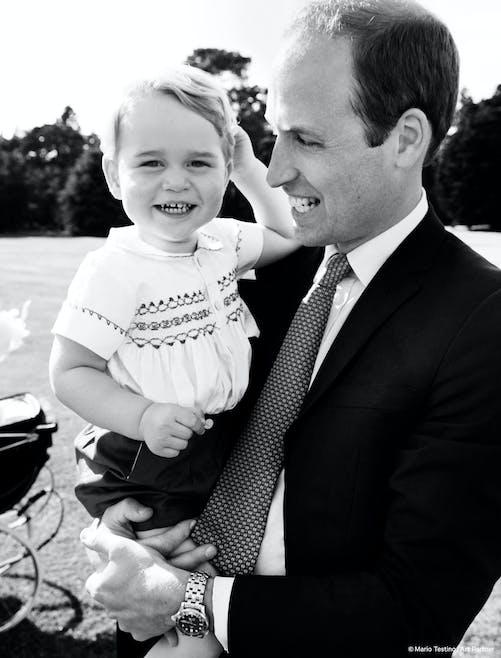 Tout sourire avec papa !