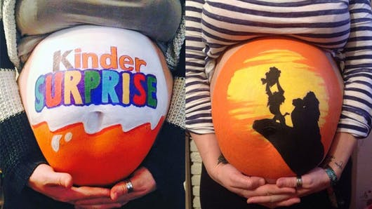 Ce papa anglais peint sur le ventre de sa femme enceinte   !