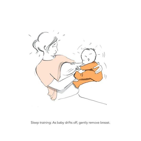 Entraînement au sommeil : Bébé s'assoupit doucement         puis vous tire le sein !