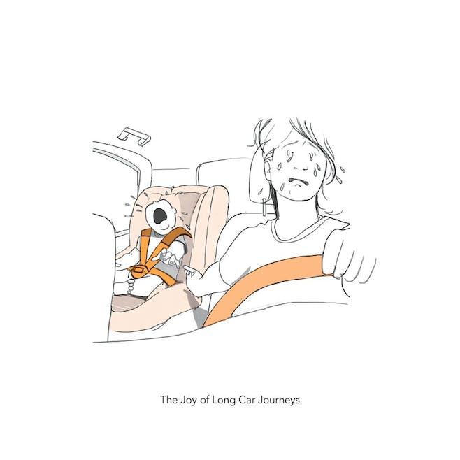 La joie d'une longue journée en voiture