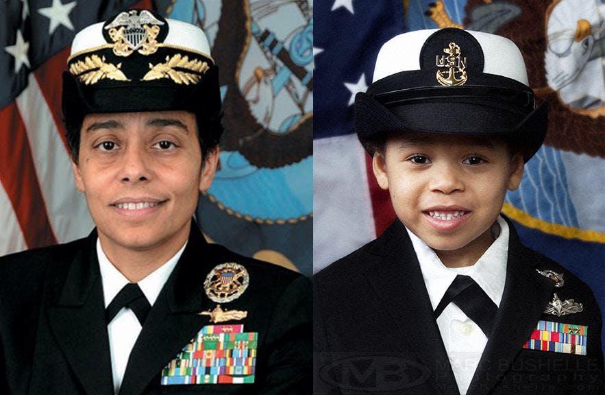 L'amirale Michelle J. Howard, première femme noire à         avoir obtenu le rang d'amirale quatre étoiles dans l'US         Navy