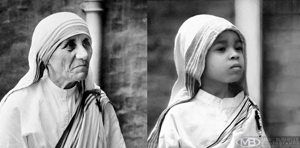Mère Teresa, religieuse catholique albanaise et perçue         comme un modèle de bonté et d'altruisme