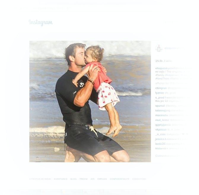 Chris Hemsworth avec sa fille India Rose