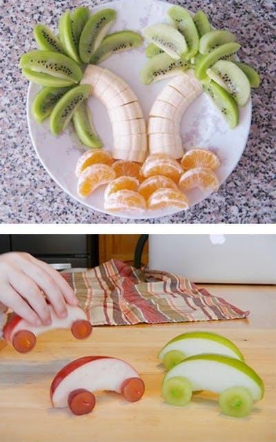 Assiette fruitée : on met le panier