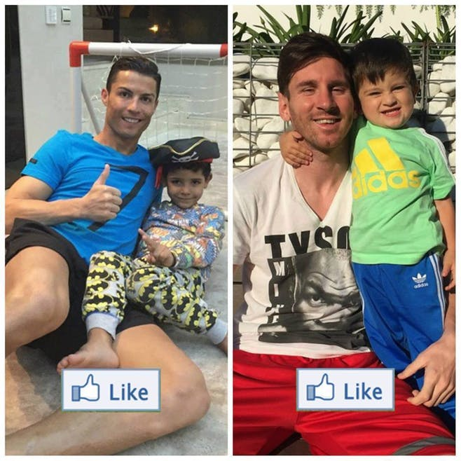 Lionel Messi et Cristiano Ronaldo avec leur fils         respectifs