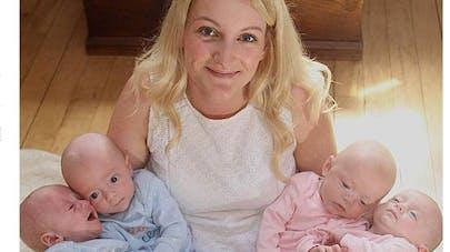 Une britannique donne naissance à des quadruplés issus de   quatre ovules différents !
