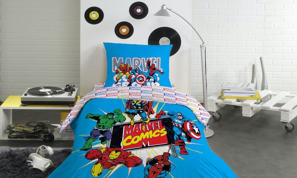 Parure de lit Disney AVENGERS ACTION BLUE