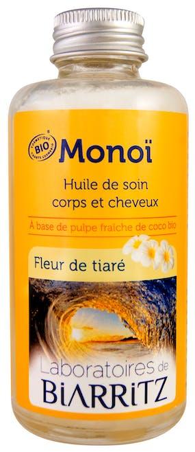 Monoï Fleur de tiaré Huile de Soin Corps et Cheveux         certifiée bio,Laboratoires de Biarritz