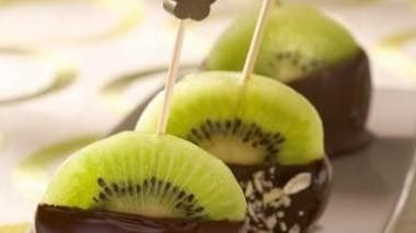Dessert : sucette kiwi chocolat