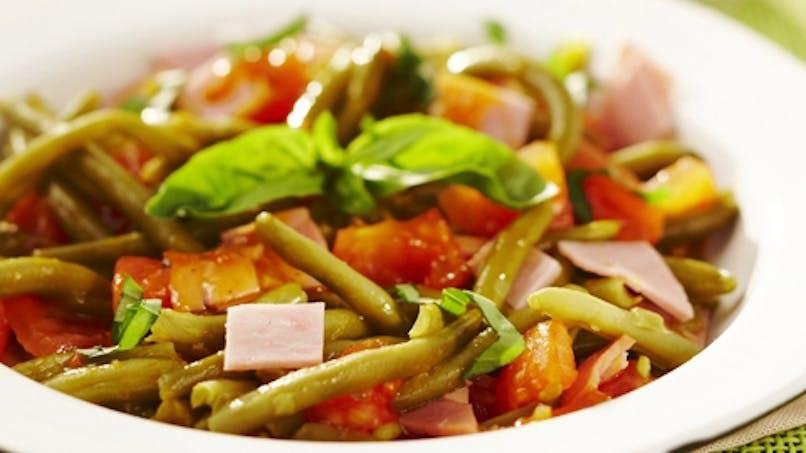 Plat : poêlée de jambon tomates et haricots verts