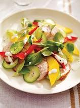 Plat : salade de filet de porc à la mangue